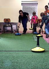 Teppichcurling - curling, Eisstockschießen, Curl, Sport, Halle, indoor, Freizeitsport