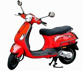 Motorroller Vespa Cartoon - Hubraum, PS, Roller, Motorroller, Vespa, fahren, Verkehr, Verkehrsmittel, Fortbewegung, rot, Rad, Räder, Zweirad, bewegen, motorisiert, Karosserie, Schaltgetriebe, rollen
