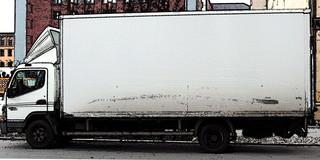 LKW Cartoon - LKW, Lastkraftwagen, Kraftwagen, Lastwagen, Laster, Kraftfahrzeug, Nutzfahrzeug, Fahrzeug, rollen, motorisiert, Transport, Güterbeförderung, Verkehrsmittel, weiß, Quader, Ladevolumen, Volumen