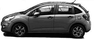 PKW sw - PKW, Auto, Verkehrsmittel, Personenkraftwagen, Kraftwagen, Kleinwagen, Kraftfahrzeug, Fahrzeug, Fünftürer, Personenbeförderung, motorisiert, rollen