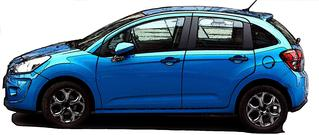 PKW-Cartoon - PKW, Auto, Verkehrsmittel, Personenkraftwagen, Kraftwagen, Kleinwagen, Kraftfahrzeug, Fahrzeug, Fünftürer, Personenbeförderung, motorisiert, rollen, blau, metallic