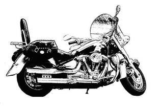 Motorrad sw - Motorrad, stehend, Hubraum, PS, fahren, Verkehr, Verkehrsmittel, Fortbewegung, Rad, Räder, Zweirad, Kraftrad, Krad, bewegen, motorisiert, Schaltgetriebe, rollen