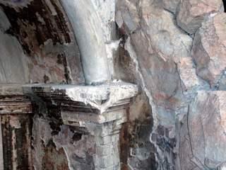 Struktur einer Gewölbewand  - Struktur, Gewölbewand, Stein, Wand, Säulenkopf, Kapitell