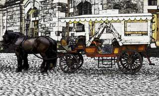 Pferdefuhrwerk - Pferd, Pferde, Zugtiere, Pferdekutsche, Pferdefuhrwerk, Wagen, Kutschfahrt, Kutsche, Pferdewagen, Fuhrwerk