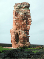Fels auf Helgoland - Felsen, Helgoland, Kalksandstein, Kreide, Buntsandstein, Eisen, Geologie, Kupfersulfat, Insel, Nordsee, Lange Anna, Erosion