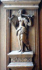 Musica - Musik, Instrumente, Harfe, Flöte, Quadrivium, Allegorie, allegorisch, Ratskammer, Friedenssaal, Münster, Fensternischen