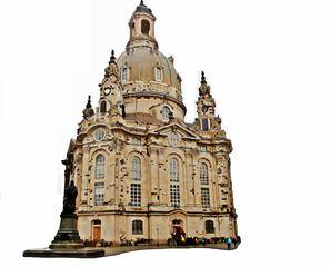 Aquarell der Dresdner Frauenkirche - Aquarell, Dresden, Frauenkirche, Kirche, Barock, Denkmal, Mahnmal, Symbol, Wiederaufbau, Kuppelbau, Monumentalbau, Sakralbau, Fassade
