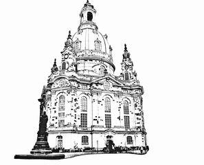 Dresdner Frauenkirche sw - Dresden, Frauenkirche, Kirche, Barock, Denkmal, Mahnmal, Symbol, Wiederaufbau, Kuppelbau, Monumentalbau, Sakralbau, Fassade