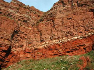 Felsschichten auf Helgoland - Felsen, Helgoland, Kalksandstein, Kreide, Buntsandstein, Eisen, Geologie, Kupfersulfat, Insel, Nordsee