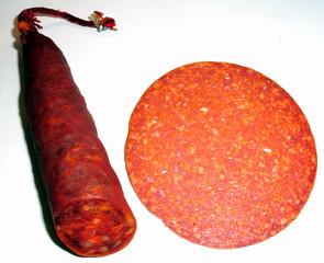 Salami - Wurst, Salami, Dauerwurst, Stück, Scheibe, Fett, Anlaut s, Anlaut w, ernähren, Ernährung, essen