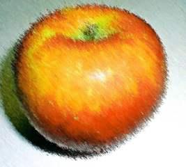 Apfel - Pastell - Apfel, Kunst, pastell, Zeichnung, Obst, Frucht, rot, orange, rund