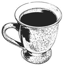 Tasse mit Getränk, sw - Tasse, Becher, Getränk, trinken, Geschirr, Wörter mit Doppelkonsonanten
