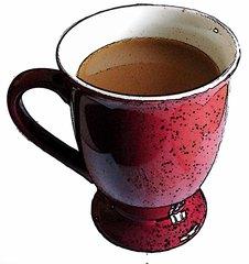 Kaffee mit Milch - Kaffee, Kaffeetasse, Tasse, Genuss, Getränk, Heißgetränk, Milchkaffee, trinken
