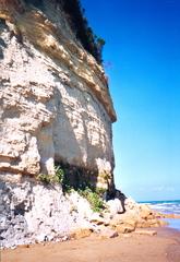 Klippe auf Korfu - Klippe, Fels, Gestein, Gesteinsschichten, Ufer, Meer, steil