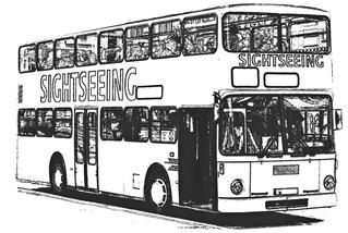 Doppeldeckerbus sw - Bus, Omnibus, Doppeldeckerbus, Verkehrsmittel, Doppeldeckbus, Doppelstockbus, Stockautobus, Stockbus Kraftwagen, Kraftfahrzeug, Fahrzeug, Personenbeförderung, Personenverkehr, motorisiert, rollen, Sightseeing, Tourismus, Stadtrundfahrt