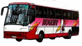 Bus Cartoon - Bus, Omnibus, Verkehrsmittel, Doppeldeckbus, Reisebus, Fahrgastbeförderung, Kraftwagen, Kraftfahrzeug, Fahrzeug, Personenbeförderung, Personenverkehr, motorisiert, rollen, Sightseeing, Tourismus, Stadtrundfahrt