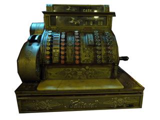 Kasse freigestellt - Kasse, Supermarkt, Registrierkasse, Geld, Geldscheine, Münzen, Einzelhandel, kassieren, bezahlen, Anlaut K, Minimalpaare, Artikulation