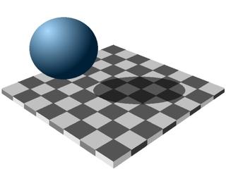 Optische Täuschung Schachbrettmuster im Schatten - optische Täuschung, Helligkeitswahrnehmung, Schatten, Optik, Kugel, Schachbrett, Quadrat, Physik