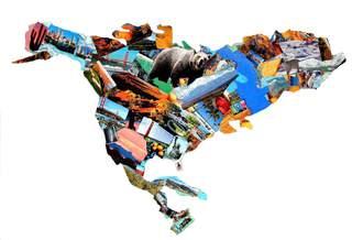 Nord- und Mittelamerika Collage - Amerika, Nordamerika, Mittelamerika, Umriss, Karte, Grenze, Erdteil, Kontinent, Erdkunde, Kunst, Collage, Impuls, Bildimpuls, Gesprächsanlass, Welt, Erde