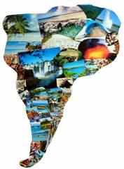 Südamerika Collage - Südamerkia, Amerika, Karte, Grenze, Erdteil, Kontinent, Erdkunde, Kunst, Collage, Umriss, Impuls, Bildimpuls, Gesprächsanlass, Welt, Erde