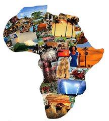 Afrika Collage - Afrika, Umriss, Grenzen, Karte, Collage, Erdteil, Kontinent, Erdkunde, Impuls, Bildimpuls, Gesprächsanlass, Welt, Erde