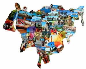 Asien Collage - Asien, Collage, Kunst, Grenze, Umriss, Erdteil, Kontinent, Erdkunde, Karte, Impuls, Bildimpuls, Gesprächsanlass, Welt, Erde