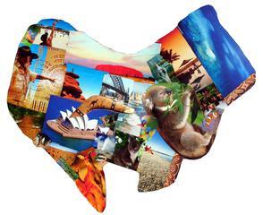 Australien Collage - Australien, Collage, Kunst, Erdkunde, Kontinent, Erdteil, Grenze, Karte, Impuls, Bildimpuls, Gesprächsanlass, Welt, Erde