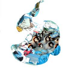 Südpol / Antarktis Collage - Südpol, Antarktis, Kunst, Collage, Erdteil, Kontinent, Erdkunde, Grenze, Karte, Impuls, Bildimpuls, Gesprächsanlass, Welt