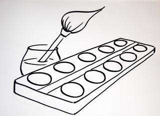 Symbolkarten/ Material - Material, Symbolkarten, Kunst, Grundschule, Pinsel, Tuschkasten, Zeichenkasten, Deckfarbkasten, Malkasten, Deckfarben, Wasserfarben, wasserlöslich