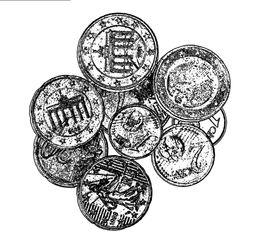 Münzen sw - Münzen, Hartgeld, Münze, bezahlen, Geld, Zahlungsmittel, Hartgeld, rechnen, Moneten, Bares, Knete, Kies, Zaster, Währung, Plural, Einzahl
