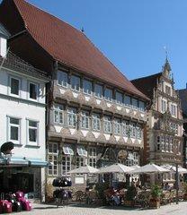 Hameln, Stiftsherrenhaus + Leisthaus - Weserrenaissance, Fachwerk