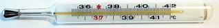 Fieberthermometer 36,4°C - Temperatur, Thermometer, Fieber, Fieberthermometer, Anzeige, Celsius, Grad, Körpertemperatur, messen, krank, Physik, Temperaturanzeige, Diagnostikgerät, Messgerät, Wärmelehre, Quecksilber, Skala, Zahlenstrahl