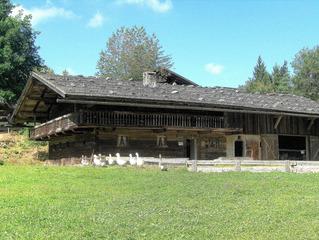 Bayrisches Bauernhaus #2 - Bauernhaus, Holzhaus, Bayern, Balkon, Geländer, Holz, Stall, Tiere, Gänse, Scheune, Stroh, Tenne, leben, wohnen, Wohnstil, Lebensweise