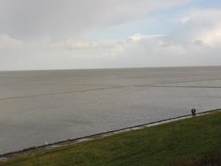 Lahnungsfelder - Nordsee, Lahnung, Beet, Grüppen, Hochwasser, Gezeiten, Wasser, Meer, Himmel, Neulandgewinnung, Sylt