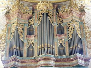 Schutzengelkirche Gaukönigshofen#5 - Orgel, Kirche, Musik, Musikinstrument, Gottesdienst, Pfeifen, Töne, Instrument, Wind, Luftstrom, Spieltisch, Empore, Organist, Register, Lieder, Konzert