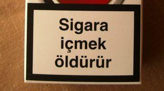 Warnhinweis auf türkischen Zigarettenpackungen#2 - Zigaretten, Zigarettenschachtel, Tabak, rauchen, gefährlich, Warnung, Hinweis, Warnhinweis, warnen, Gesundheit