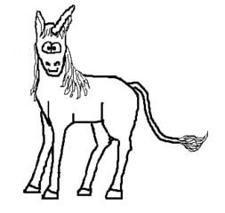 Einhorn - Einhorn, unicorn, einhörnig, Pferd mit Horn, Fabelwesen, Fabeltier, Cartoon, Zeichnung, Clipart