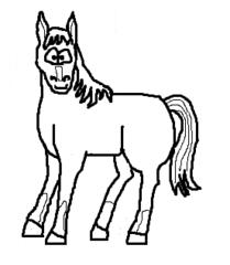 Pferd - Pferd, horse, Reittier, Nutztier, Gaul, Hengst, Stute, Cartoon, Zeichnung, Clipart, Wörter mit pf