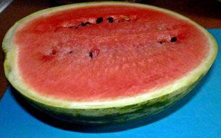 halbe Wassermelone - Melone, Melonen, Stück, rot, Wassermelone, Kürbisgewächs, Frucht, Kern, Kerne, Anlaut M