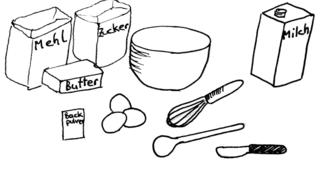 Waffeln backen - Bild 1 / 8 - Waffeln, Teig, backen, Bäckerei, Zutaten, zubereiten, Zubereitung, Rezept, Vorgangsbeschreibung, Vorgang, Beschreibung, Rührgerät, Mixer, Schneebesen, Holzlöffel, Rührloffel, Rührschüssel, Messer, Butter, Eier, Mehl, Zucker, Butter, Backpulver, Milch