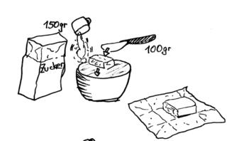 Waffeln backen - Bild 2 / 8 - Waffeln, Teig, backen, Bäckerei, Zutaten, zubereiten, Zubereitung, Rezept, Vorgangsbeschreibung, Vorgang, Beschreibung, Rührloffel, Rührschüssel, Messer, Tasse, Butter, Mehl, Zucker, Milch