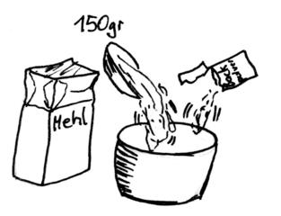 Waffeln backen - Bild 5 / 8 - Waffeln, Teig, backen, Bäckerei, Zutaten, zubereiten, Zubereitung, hinzufügen, hinzugeben, Rezept, Vorgangsbeschreibung, Vorgang, Beschreibung, Rührgerät, Mixer, Schneebesen, Holzlöffel, Rührloffel, Rührschüssel, Mehl, Backpulver