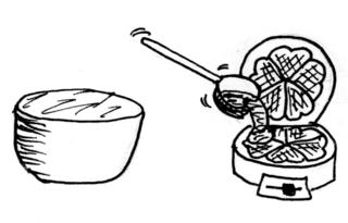 Waffeln backen - Bild 7 / 8 - Waffeln, Teig, backen, Bäckerei, Zutaten, zubereiten, Zubereitung, Rezept, Vorgangsbeschreibung, Vorgang, Beschreibung, Rührschüssel, Waffeleisen, Löffel, Wörter mit ck