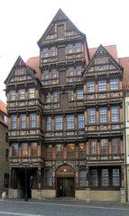 Marktplatz Hildesheim #4 Wedekindhaus - Wedekindhaus, Hildesheim, 1598, Fachwerk, Fachwerkhaus, Schnitzereien, Malerei, Giebel, Auslucht, Fassade, Marktplatz