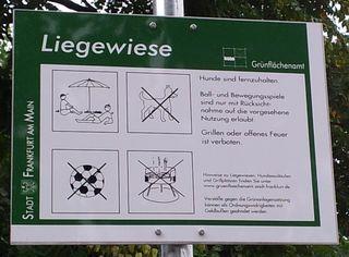 Hinweisschild - Hinweis, Schild, Nutzung, Liegewiese