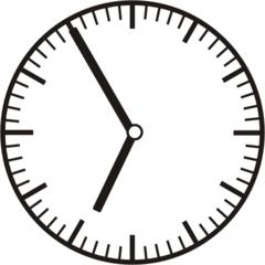 Uhrzeit 6.55 - 18.55 - Uhr, 5 Minuten vor, Uhrzeit, Zeit, Zeitspanne, Zeitpunkt, Zeiger, Mechanik, Zeitskala, Zeitgeber, Analoguhr, Zifferblatt, Ziffernblatt, rechtsdrehend, Uhrzeigersinn, Minute, Stunde, Kreis, Winkel, Grad, Mathematik, Größen, messen, time, clock, ermitteln, Zeitraum, Dauer, Frist, Termin, Zeitabschnitt
