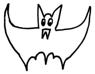 Fledermaus#1 - Zeichnung, Anlaut F, flattern, gruselig, Halloween, Tiere, fliegen, Säugetier, Nacht