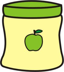 Apfelmus - Apfel, Mus, Kompott, Apfelkompott, Anlaut A, Glas, essen, Obst, kochen, bunt, farbig