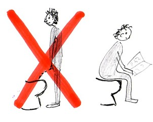 Pinkel - Schild - stehen, Toilette, toilet, pinkeln, pullern, sitzen, Klo, Hinweis