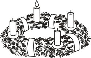 Adventskranz---1 - Advent, Adventszeit, Vorweihnachtszeit, Weihnachten, Adventssonntag, Adventskranz, Kerze, Kerzen, brennen, eins, erste, Kranz, Licht, Anlaut A, Anlaut K, Wörter mit v